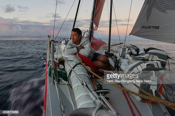 In this handout image provided by the Volvo Ocean Race onboard Dongfeng Race Team Dongfeng try to make progress towards the North Jin Hao Chen...