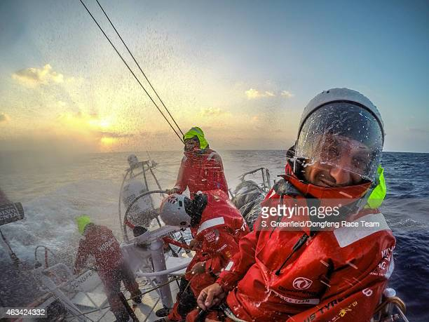 In this handout image provided by the Volvo Ocean Race onboard Dongfeng Race Team Spray helmets not the coolest looking accessory but essential out...