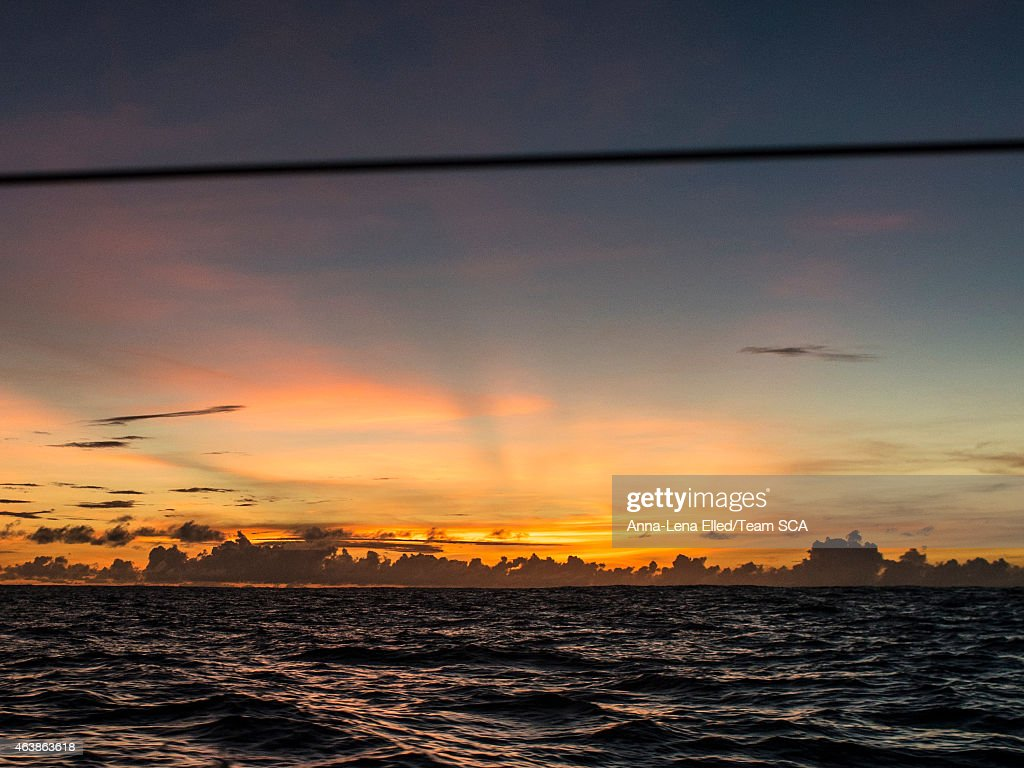In this handout image provided by the Volvo Ocean Race onboard Team SCA Another amazing Sunset in the South Pacific Ocean during Leg 4 from Sanya to...