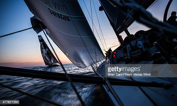 In this handout image provided by the Volvo Ocean Race onboard Team Vestas Wind Day 1 The first evening at sea as we sail up the coastline of...
