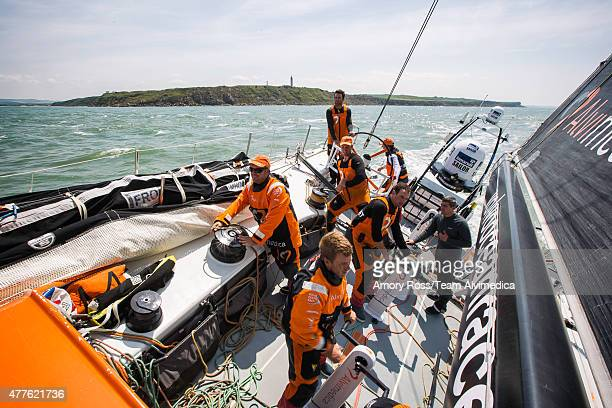 In this handout image provided by the Volvo Ocean Race onboard Team Alvimedica Day 2 A windy night of sailing and a decision to stay south of the TSS...
