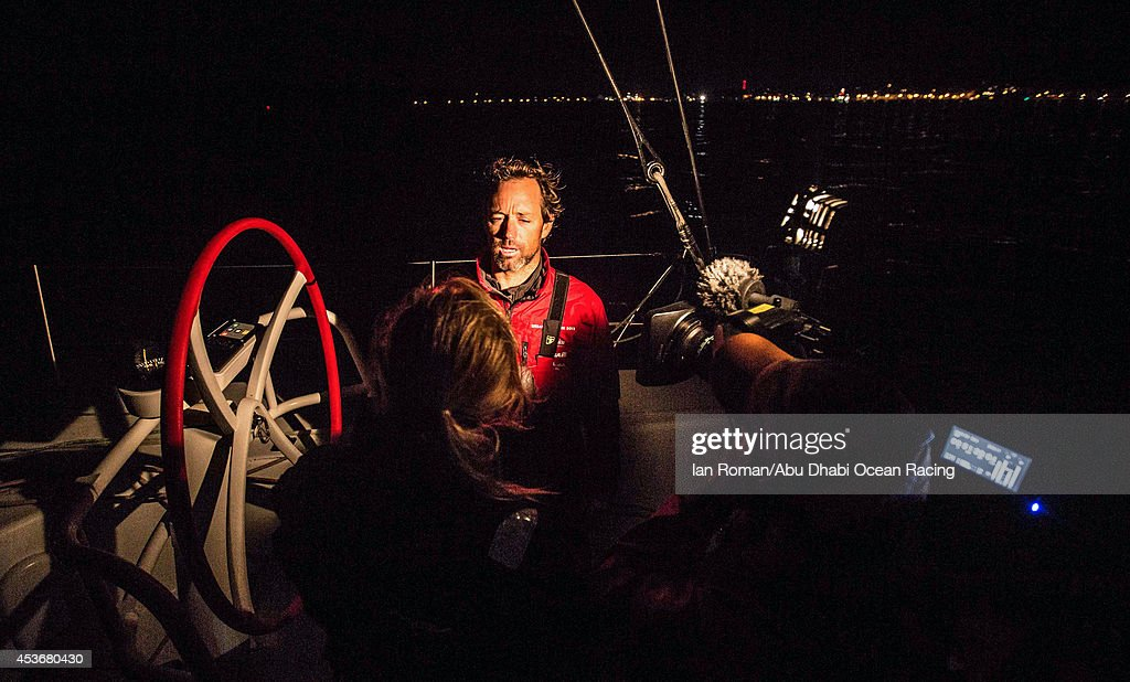 In this handout image provided by the Volvo Ocean Race, Spanish skipper Iker Martinez talks to the media as Spanish team skippered by Iker Martinez arrives late at night during the Sevenstar Round Britain and Ireland Race 2014 on August 16, 2014 off Cowes, Isle of Wight, England. The Volvo Ocean Race will start from Alicante in Spain on October 04, 2014, the 38,739-nautical mile route includes stopovers in Cape Town (South Africa), Abu Dhabi (UAE), Sanya (China), Auckland (New Zealand), Itaja (Brazil), Newport, RI,(USA), Lisbon (Portugal) and Lorient (France). A 24-hour pit-stop in The Hague is scheduled between France and the race finish in Sweden. The Volvo Ocean Race is the world's premier ocean yacht race for professional racing crews.
