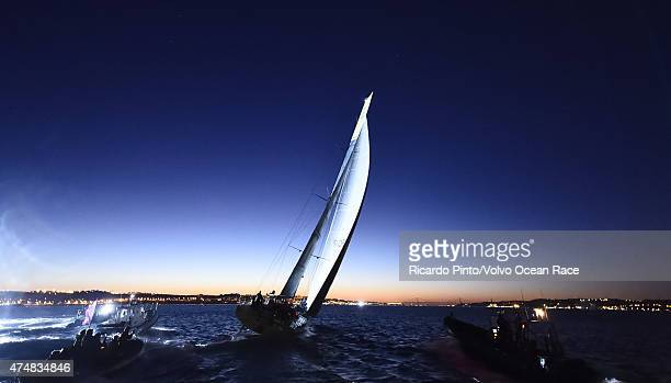 In this handout image provided by the Volvo Ocean Race Team Brunel arrives to Lisbon during sunrise in first position during the finish of Leg 7 from...