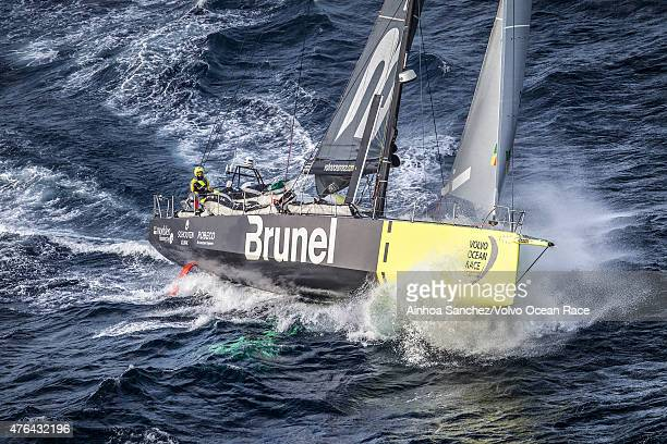 In this handout image provided by the Volvo Ocean Race Team Brunel passing by Costa da Morte Coast of Death in Spanish waters during the sailing of...