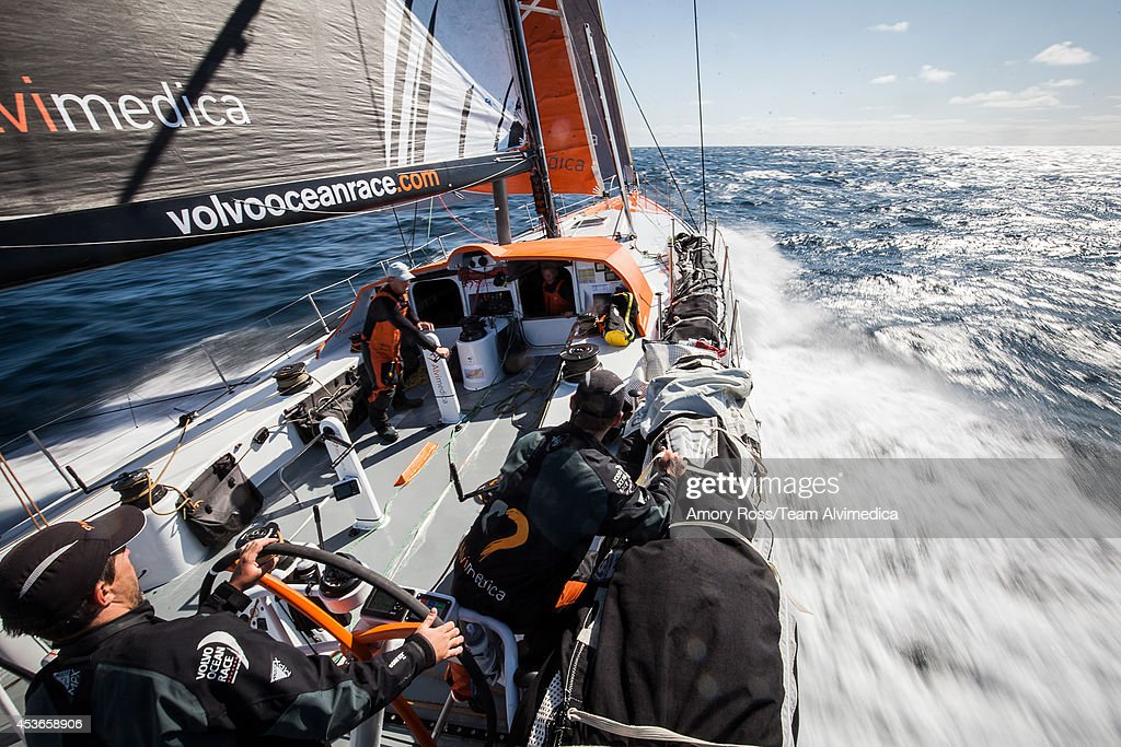 In this handout image provided by the Volvo Ocean Race, Team Alvimedica compete in the Round Britain and Ireland Race on August 14, 2014 in an unspecified location at sea. Starting from Alicante in Spain on October 04, 2014, the 38,739-nautical mile route includes stopovers in Cape Town (South Africa), Abu Dhabi (UAE), Sanya (China), Auckland (New Zealand), Itaja (Brazil), Newport, RI,(USA), Lisbon (Portugal) and Lorient (France). A 24-hour pit-stop in The Hague is scheduled between France and the race finish in Sweden. The Volvo Ocean Race is the world's premier ocean yacht race for professional racing crews.