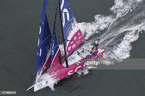 In this handout image provided by the Volvo Ocean Race Team SCA arrive in The Hague for a pit stop during Leg 9 from Lorient to Gothenburg on JUNE 19...