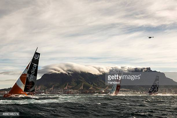 In this handout image provided by the Volvo Ocean Race Team Alvimedica Team Dongfeng and Team SCA at the start of Leg 2 from Cape Town to Abu Dhabi...