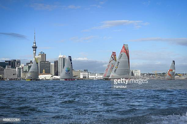 In this handout image provided by the Volvo Ocean Race The fleet at the start of Leg 5 from Auckland to Itajai on March 18 2015 in Auckland New...