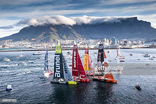 In this handout image provided by the Volvo Ocean Race The fleet during the start of Leg 2 from Cape Town to Abu Dhabi on November 19 2014 in Cape...