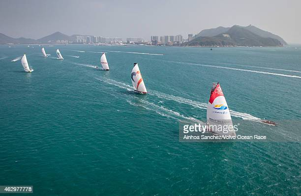 In this handout image provided by the Volvo Ocean Race The fleet during the start of Leg 4 from Sanya to Auckland on February 08 2015 in Sanya China...
