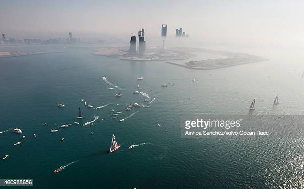 In this handout image provided by the Volvo Ocean Race The start of Leg 3 from Abu Dhabi to Sanya on January 03 2015 in Abu Dhabi United Arab...
