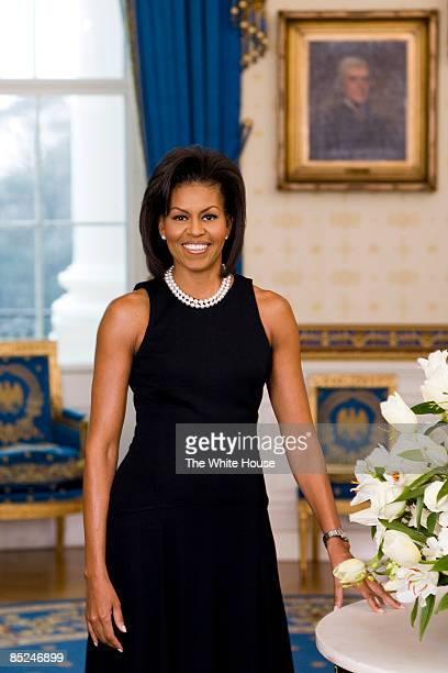 In this handout image provided by the White House First Lady Michelle Obama poses for her official portrait in the Blue Room of the White House...