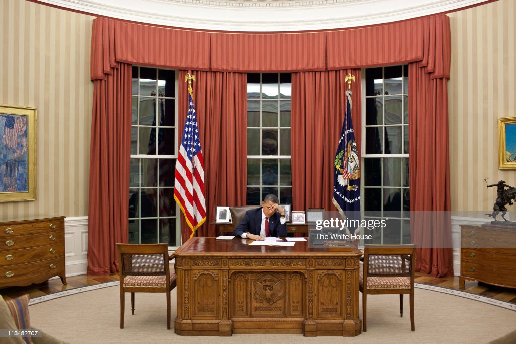 In this handout image provided by The White House, President <a gi-track='captionPersonalityLinkClicked' href=/galleries/search?phrase=Barack+Obama&family=editorial&specificpeople=203260 ng-click='$event.stopPropagation()'>Barack Obama</a> edits his remarks in the Oval Office prior to making a televised statement detailing the mission against Osama bin Laden, May 1, 2011 in Washington, DC. U.S. President <a gi-track='captionPersonalityLinkClicked' href=/galleries/search?phrase=Barack+Obama&family=editorial&specificpeople=203260 ng-click='$event.stopPropagation()'>Barack Obama</a> announced that the United States had killed the most-wanted terrorist Osama Bin Laden in an operation led by U.S. Special Forces at a compound in Abbottabad, Pakistan.