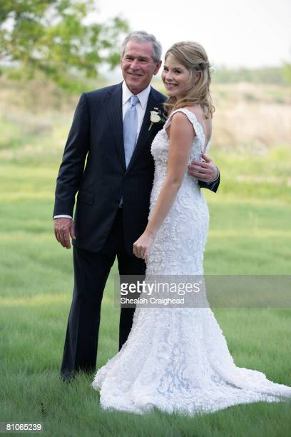In this handout image provided by the White House President George W Bush and Jenna Bush pose for a photographer prior to her wedding to Henry Hager...