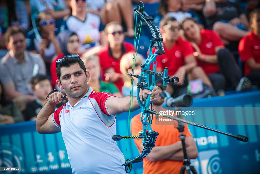In this handout image provided by the World Archery Federation, Demir Elmaagacli (TUR) shoots in the compound men gold medal match during the Hyundai Archery World Cup on April 30, 2016 in Shanghai , China.
