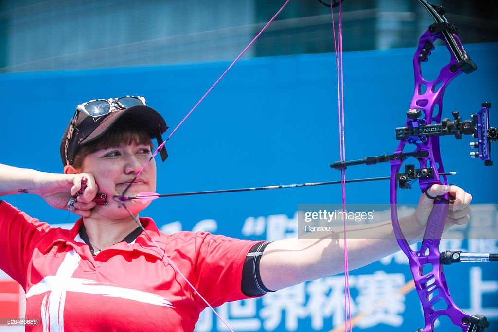 In this handout image provided by the World Archery Federation, Erika Anear (DEN) shoots in the compound women team gold medal match during the Hyundai Archery World Cup on April 30, 2016 in Shanghai , China.