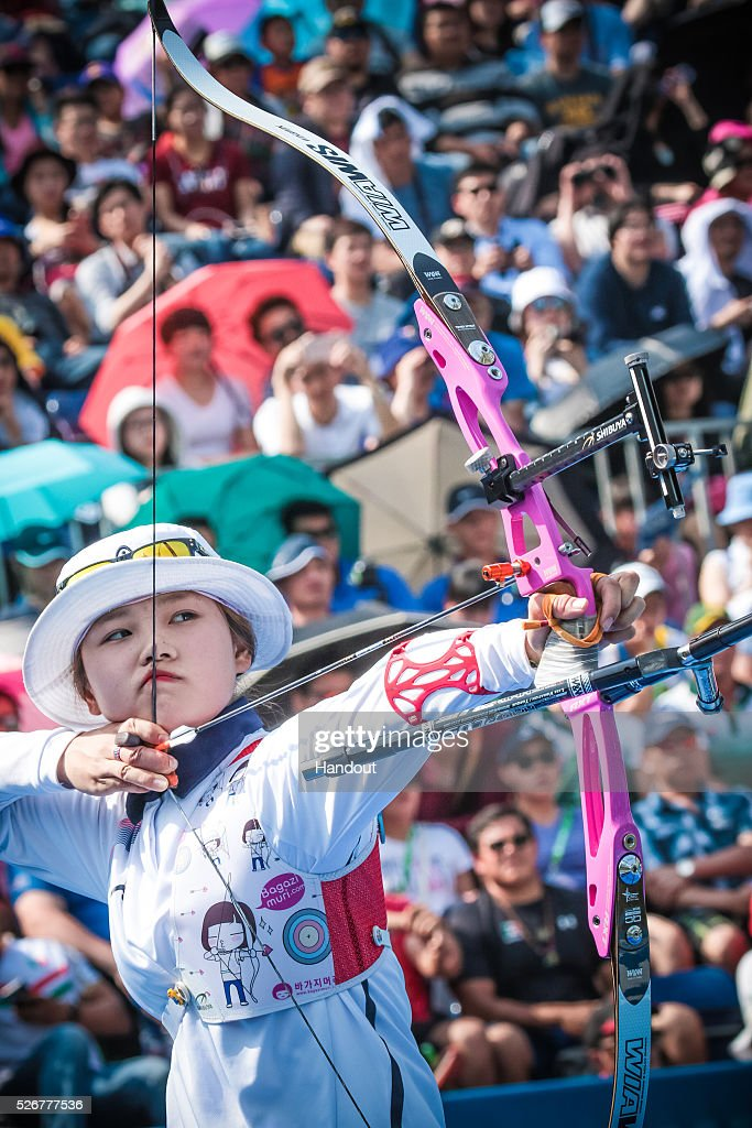 In this handout image provided by the World Archery Federation, Kim Chaeyun (KOR) shoots in the recurve womens bronze medal match during the Hyundai Archery World Cup on May 1, 2016 in Shanghai , China.