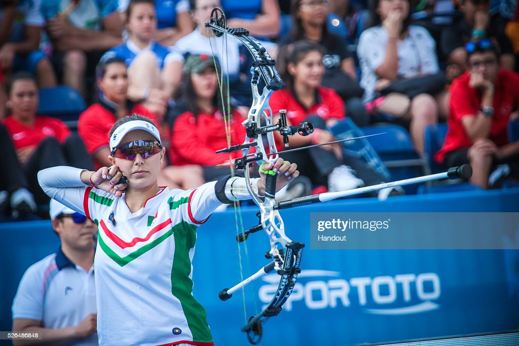 In this handout image provided by the World Archery Federation, Linda Ochoa (MEX) shoots in the compound women bronze medal match during the Hyundai Archery World Cup on April 30, 2016 in Shanghai , China.