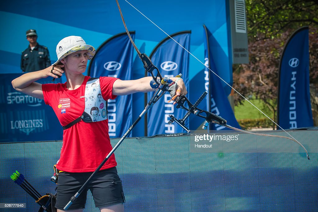 In this handout image provided by the World Archery Federation, Maja Jager (DEN) shoots in the recurve womens bronze medal match during the Hyundai Archery World Cup on May 1, 2016 in Shanghai , China.