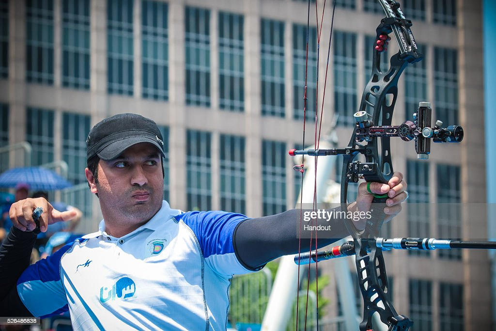 In this handout image provided by the World Archery Federation, Majid Gheidi (IRI) shoots in the compound men team gold medal match during the Hyundai Archery World Cup on April 30, 2016 in Shanghai , China.