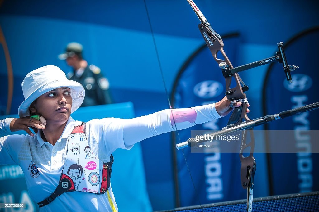 In this handout image provided by the World Archery Federation, Deepika Kumari of India shoots in the recurve women team gold medal match during the Hyundai Archery World Cup on May 1, 2016 in Shanghai , China.