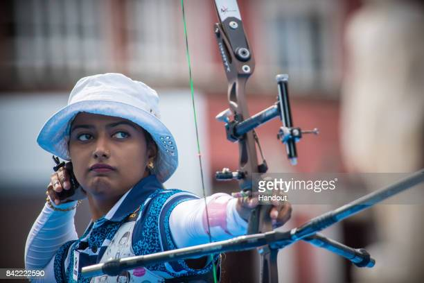 In this handout image provided by the World Archery Federation Deepika Kumari of India shoots during the recurve Woman finals during the Archery...