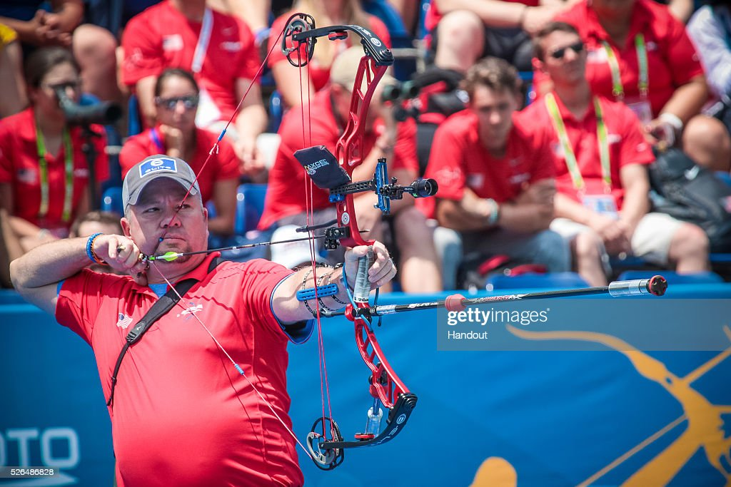 In this handout image provided by the World Archery Federation, Reo Wilde (USA) shoots in the compound men team gold medal match during the Hyundai Archery World Cup on April 30, 2016 in Shanghai , China.