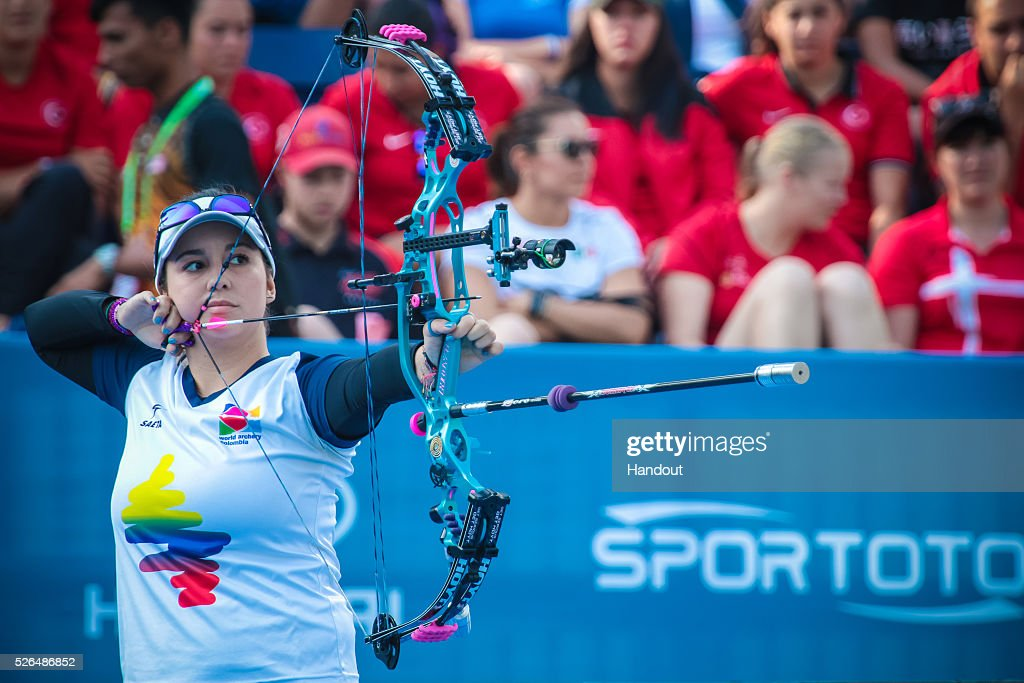 In this handout image provided by the World Archery Federation, Sara Lopez (COL) shoots in the compound women gold medal match during the Hyundai Archery World Cup on April 30, 2016 in Shanghai , China.