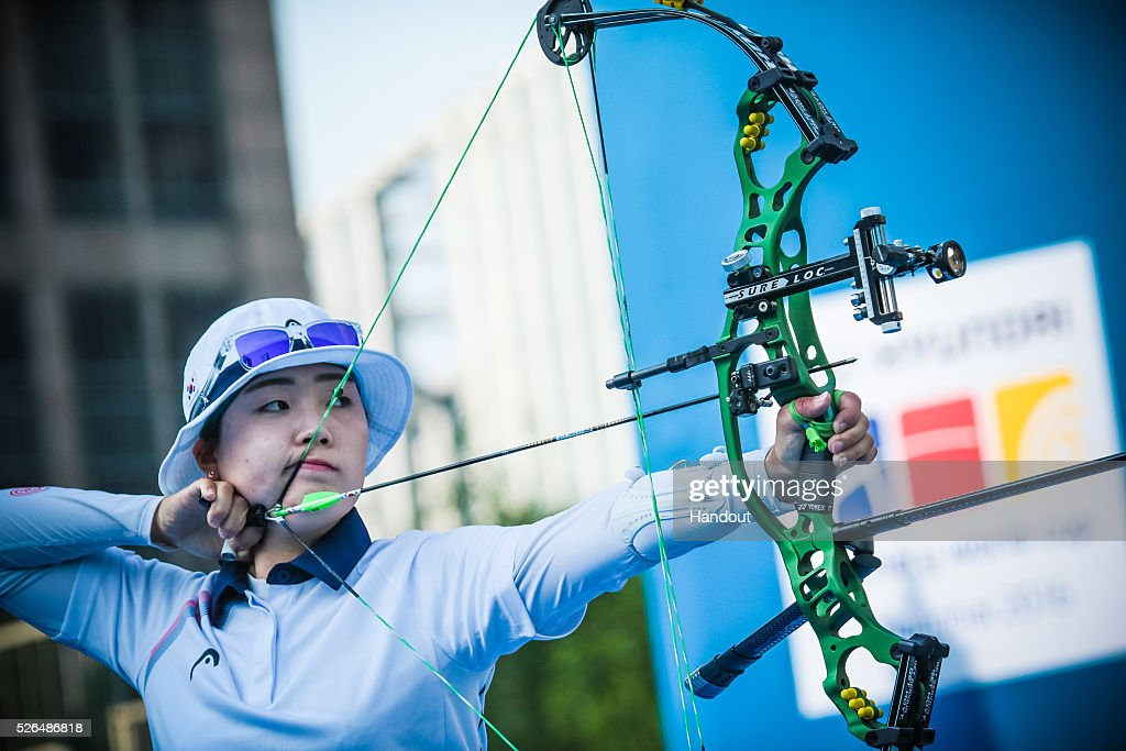 In this handout image provided by the World Archery Federation, Seol Dayeong (KOR) shoots in the compound women bronze medal match during the Hyundai Archery World Cup on April 30, 2016 in Shanghai , China.