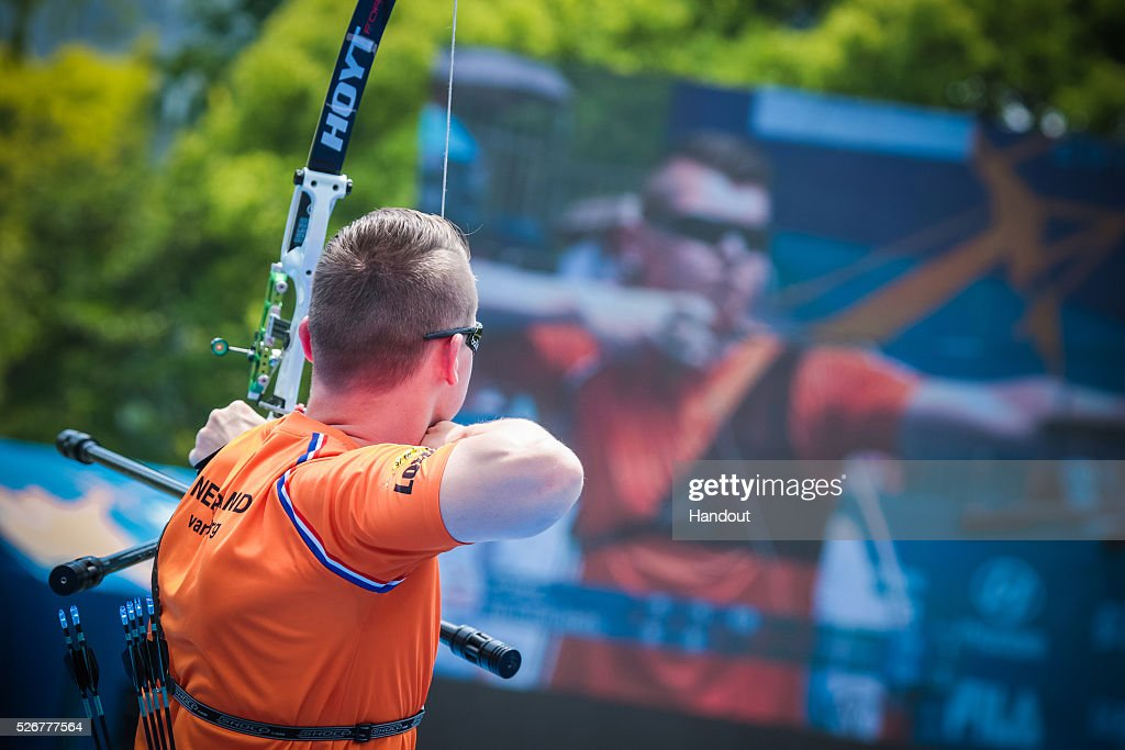 In this handout image provided by the World Archery Federation, Sjef van den Berg (NED) shoots in the recurve mens gold medal match during the Hyundai Archery World Cup on May 1, 2016 in Shanghai , China.