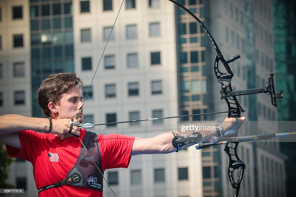 In this handout image provided by the World Archery Federation, Zach Garrett (USA) shoots in the recurve mens gold medal match during the Hyundai Archery World Cup on May 1, 2016 in Shanghai , China.