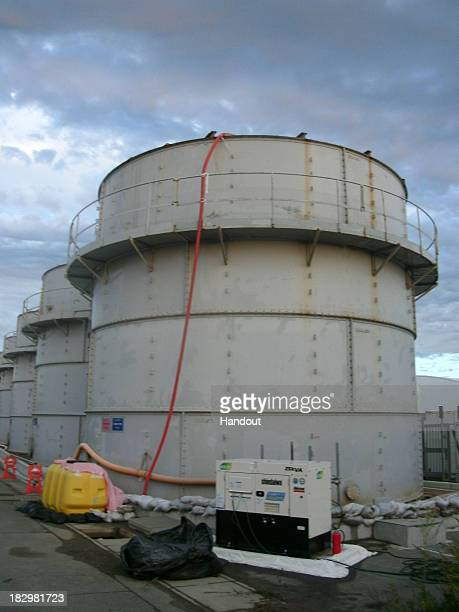 In this handout image provided by Tokyo Electric Power Co the tank that radiationcontaminated water leaked from in the B area is seen at the...