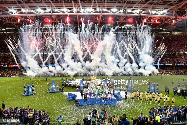 In this handout image provided by UEFA A general view is seen as the Real Madrid team celerbate during the UEFA Champions League Final between...