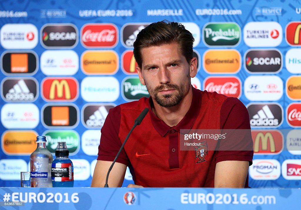 In this handout image provided by UEFA, <a gi-track='captionPersonalityLinkClicked' href=/galleries/search?phrase=Adrien+Silva&family=editorial&specificpeople=2202656 ng-click='$event.stopPropagation()'>Adrien Silva</a> faces the media during the Portugal press conference at Stade Velodrome on June 29, 2016 in Marseille, France.