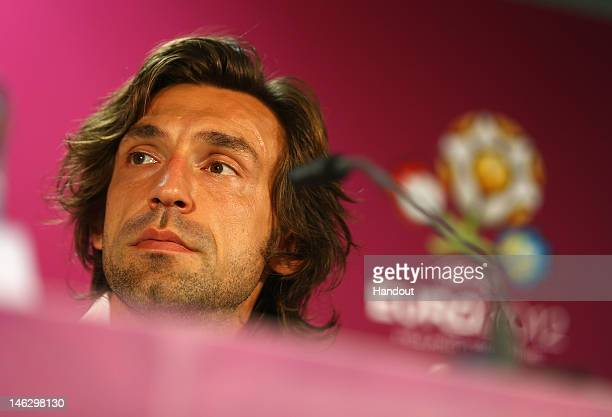 In this handout image provided by UEFA Andrea Pirlo of Italy talks to the media during a UEFA EURO 2012 press conference at the Municipal Stadium on...