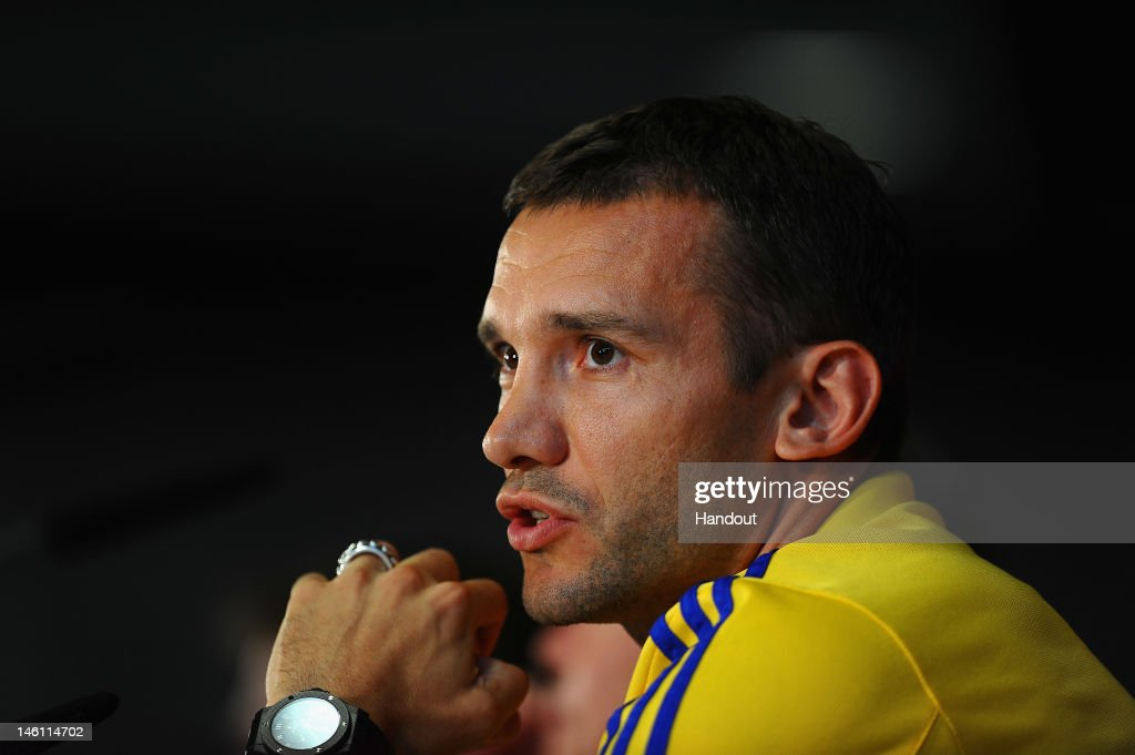 In this handout image provided by UEFA, Andriy Shevckenko of Ukraine faces the media during a UEFA EURO 2012 press conference on June 10, 2012 in Kiev, Ukraine.