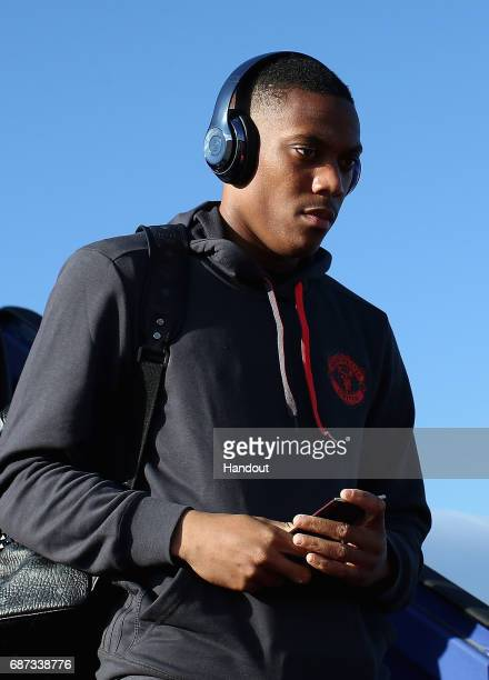 In this handout image provided by UEFA Anthony Martial of Manchester United arrives ahead of the UEFA Europa League Final between Ajax and Manchester...