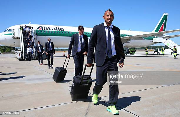 In this handout image provided by UEFA Arturo Vidal of Juventus arrives on the eve of the UEFA Champions League Final match against FC Barcelona at...