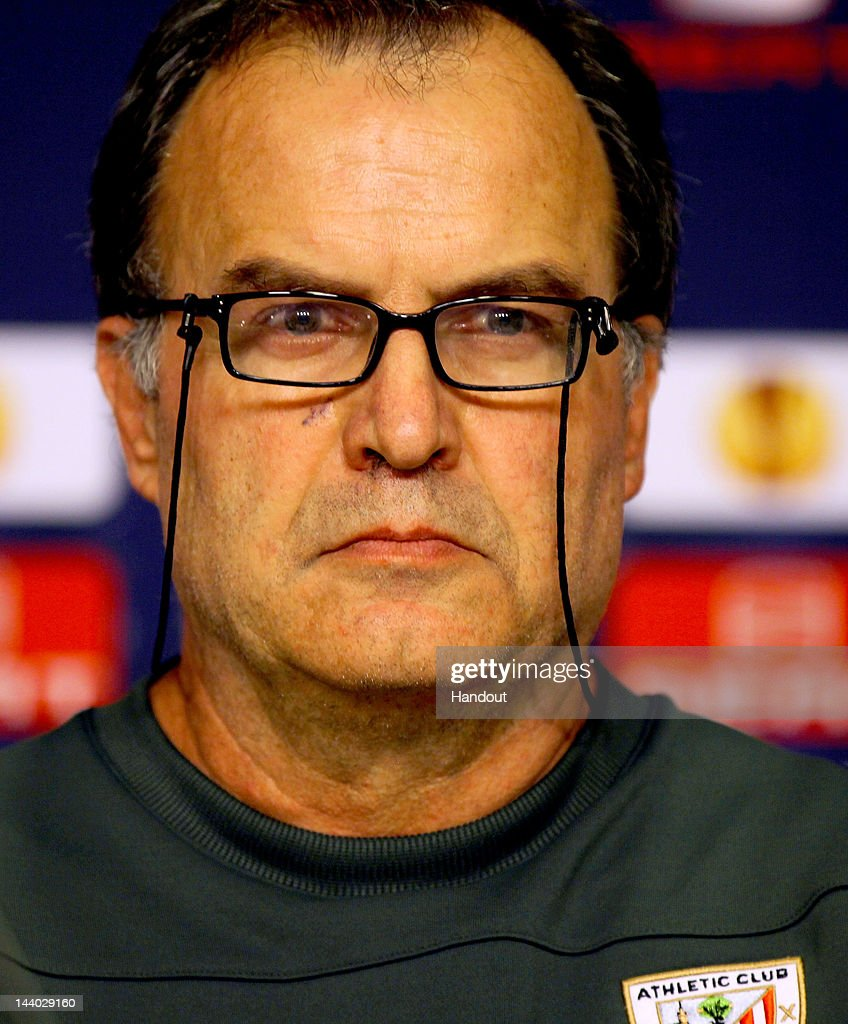 In this handout image provided by UEFA, Athletic Bilbao coach <a gi-track='captionPersonalityLinkClicked' href=/galleries/search?phrase=Marcelo+Bielsa&family=editorial&specificpeople=2396264 ng-click='$event.stopPropagation()'>Marcelo Bielsa</a> looks on during the Athletic Bilbao press conference ahead of the UEFA Europa League Final between Atletico Madrid and Athletic Bilbao at the National Arena on May 8, 2012 in Bucharest, Romania.