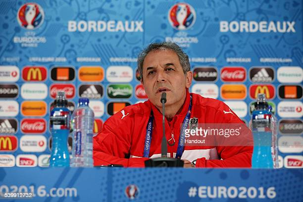 In this handout image provided by UEFA Austria's head coach Marcel Koller talks during the Austria press conference at the Matmut Atlantique Stadium...