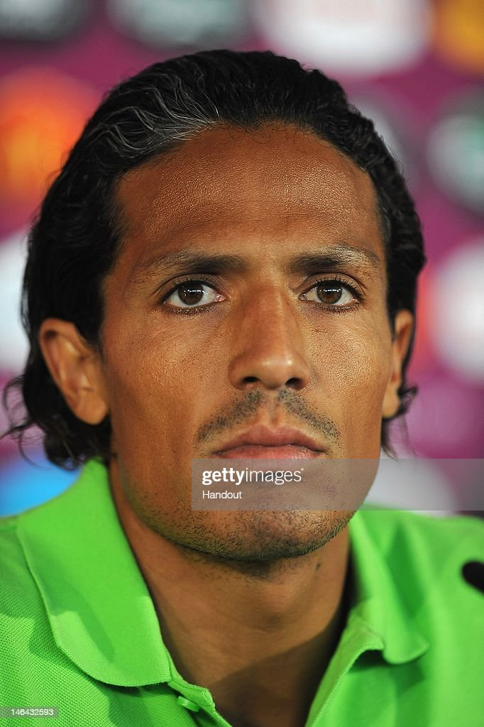 In this handout image provided by UEFA, <a gi-track='captionPersonalityLinkClicked' href=/galleries/search?phrase=Bruno+Alves&family=editorial&specificpeople=2149132 ng-click='$event.stopPropagation()'>Bruno Alves</a> of Portugal talks to the media during a UEFA EURO 2012 press conference at the Metalist Stadium on June 17, 2012 in Kharkov, Ukraine.