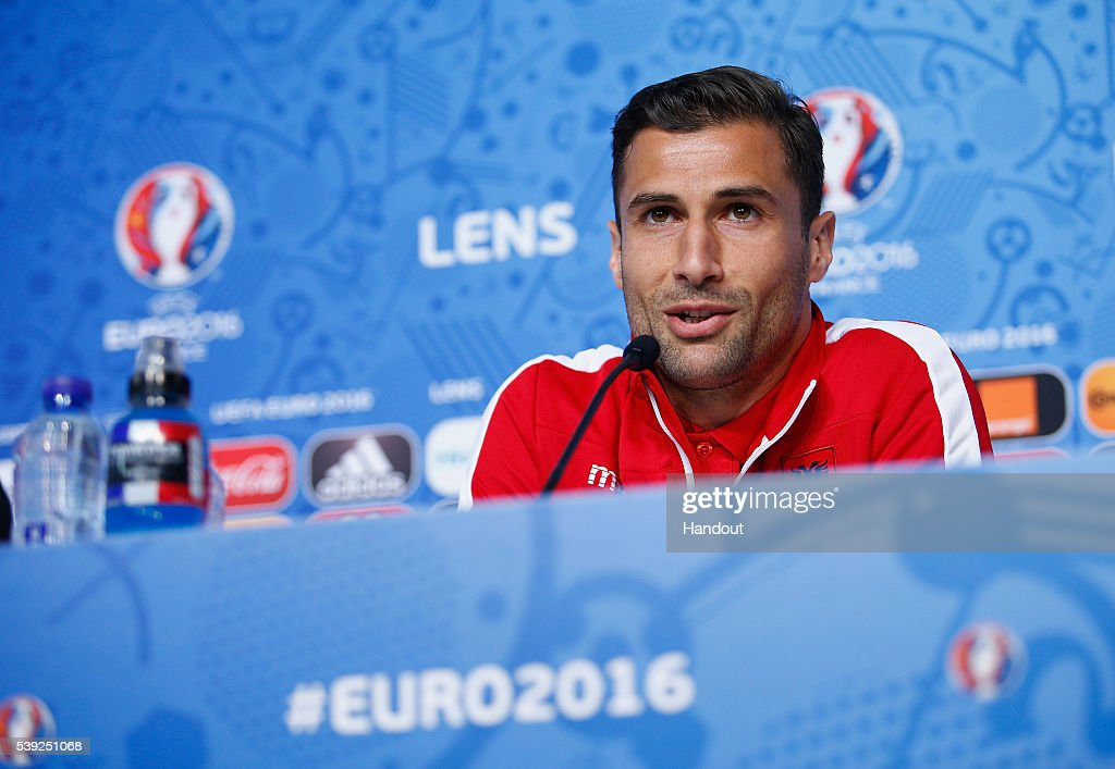 In this handout image provided by UEFA, Captain, <a gi-track='captionPersonalityLinkClicked' href=/galleries/search?phrase=Lorik+Cana&family=editorial&specificpeople=662499 ng-click='$event.stopPropagation()'>Lorik Cana</a> of Albania during the Albania Press Conference at the Stade Bollaert-Delelis on June 10, 2016 in Lens, France.