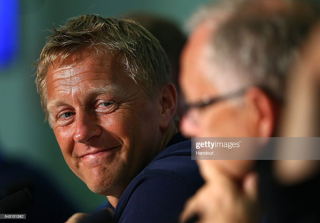 In this handout image provided by UEFA, Coach of Iceland Heimir Hallgrimsson faces the media during the Iceland press conference at Allianz Riviera Stadium on June 26, 2016 in Nice, France.