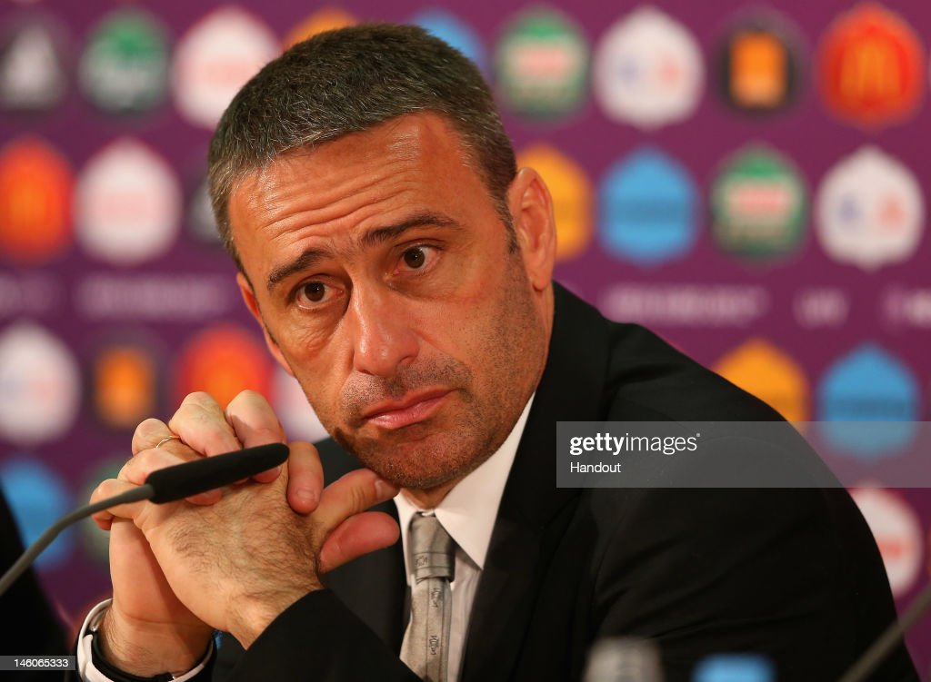 L'VIV, UKRAINE - JUNE 09: In this handout image provided by UEFA, Coach <a gi-track='captionPersonalityLinkClicked' href=/galleries/search?phrase=Paulo+Bento&family=editorial&specificpeople=2076425 ng-click='$event.stopPropagation()'>Paulo Bento</a> of Portugal faces the media during a press conference after the UEFA EURO 2012 Group B match between Germany and Portugal on June 9, 2012 in L'viv, Ukraine.