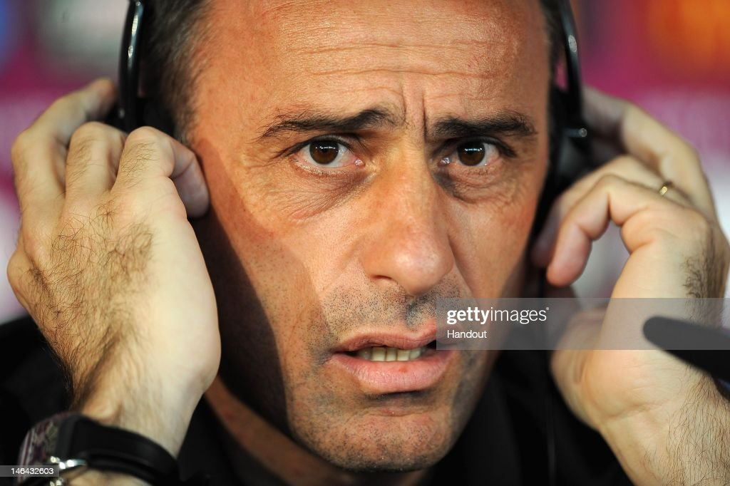 In this handout image provided by UEFA, Coach <a gi-track='captionPersonalityLinkClicked' href=/galleries/search?phrase=Paulo+Bento&family=editorial&specificpeople=2076425 ng-click='$event.stopPropagation()'>Paulo Bento</a> of Portugal talks to the media during a UEFA EURO 2012 press conference at the Metalist Stadium on June 17, 2012 in Kharkov, Ukraine.