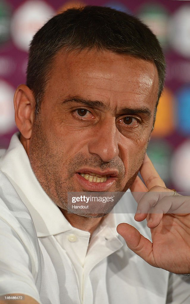 In this handout image provided by UEFA, Coach <a gi-track='captionPersonalityLinkClicked' href=/galleries/search?phrase=Paulo+Bento&family=editorial&specificpeople=2076425 ng-click='$event.stopPropagation()'>Paulo Bento</a> of Portugal talks to the media during a press conference after the UEFA EURO 2012 Group B match between Portugal and Netherlands on June 17, 2012 in Kharkov, Ukraine.