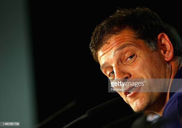 In this handout image provided by UEFA Coach Slaven Bilic of Croatia talks to the media during a UEFA EURO 2012 press conference ahead of the UEFA...