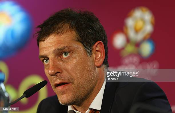 In this handout image provided by UEFA Coach Slaven Bilic of Croatia talks to the media during a UEFA EURO 2012 press conference after the UEFA EURO...