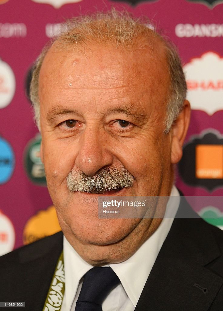 In this handout image provided by UEFA, Coach <a gi-track='captionPersonalityLinkClicked' href=/galleries/search?phrase=Vicente+del+Bosque&family=editorial&specificpeople=2400668 ng-click='$event.stopPropagation()'>Vicente del Bosque</a> of Spain talks to the media after the UEFA EURO 2012 Group C match between Spain and Republic of Ireland on June 14, 2012 in Gdansk, Poland.