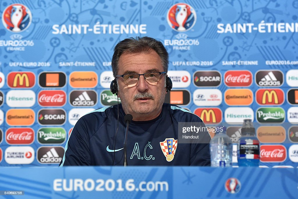 In this handout image provided by UEFA, Croatia head coach Ante Cacic faces the media during the Croatia Press Conference on June 16, 2016 in Saint-Etienne, France.